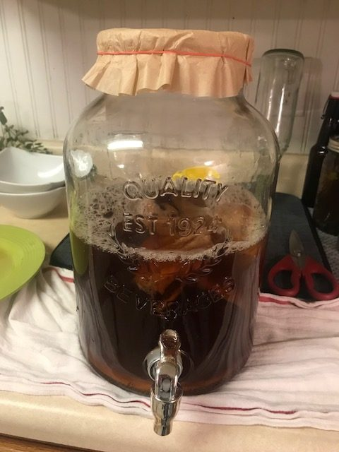 large jar of fresh homemade kombucha